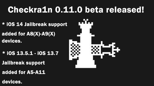 Checkra1n 0.11.0~on iOS 14 (A9, A8 Support)