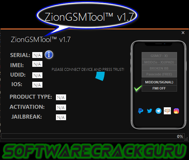 ZionGSMTool v1.7 iCloud bypass For Windows Computer Free Download