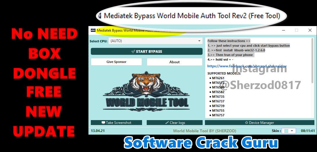 Mediatek Bypass World Mobile Auth Tool (Rev2) FIX ALL ERROR Free Download